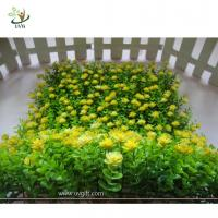 Wholesale UVG HGR02 new style artificial boxwood panel with plastic flowers for interior decoration from china suppliers