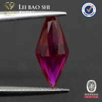 Wholesale top quality synthetic loose corundum half drilling hole gemstone beads in ruby red color for pendant from china suppliers