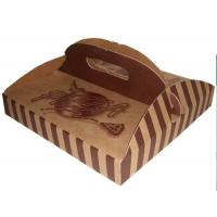 Wholesale Stripe Folding Brown Paper Box Packaging With Handle For Pizza from china suppliers