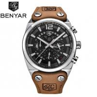 Wholesale BENYAR Men Leather Strap Waterproof 30m Fashion Leisure Chronograph Quartz Wrist Watches BY-5112 from china suppliers
