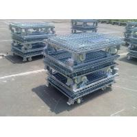 Wholesale Zinc Finish Rigid Rolling Wire Mesh Cage Foldable With Foot Brakes / Castors from china suppliers