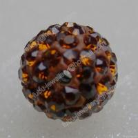 Buy cheap Smoked Topaz Clay Shamballa Pave Beads In Size 6mm, 8mm, 10mm, 12mm from wholesalers