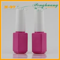 Wholesale Frosty Pink Glass Nail Polish Containers with Plastic Brush Whtie Cap from china suppliers