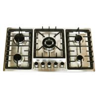 Wholesale 201 Stainless Steel 5 Burner Gas Cooktop With Enamel Cap / Safety Device from china suppliers