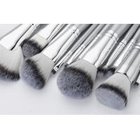 Quality 13 Pieces Silver White Handle Professional Makeup Brush Set Synthetic Two Color Hair for sale