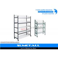 Wholesale Multi Layer Metal Wire Shelving / Wire Display Rack With Wheels For Placing Foods from china suppliers