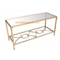 Wholesale FR-15112  Metal Framed Gold Foil Coffee Table with Mirror Top For Home and Hotel from china suppliers