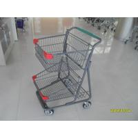 Wholesale Two Deck Basket  Shopping Trolley Cart With Grey Powder Coating Surface Treatment from china suppliers