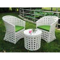 Wholesale Outdoor garden PE rattan table and chair white color from china suppliers