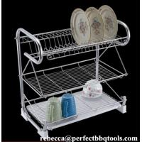 Wholesale Stainless steel kitchen dish rack 3 layer chromed wire dish racks & drainers PT-DR001 from china suppliers
