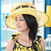 Wholesale Custom Color Women Ladies Sinamay Hats with Beautiful Feather For Church from china suppliers