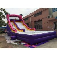 Quality 0.55mm Pvc Purple Inflatable Bouncer Slide With Pool For Kids 6x3x3m for sale