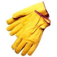 Wholesale Yellow unlined pigskin split Leather Driving Glove with shirred elastic back DRPBS from china suppliers