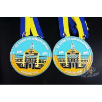 China Full Soft Enamel Circle Shape Metal Award Carnival Medals With Two Ribbon Loop on sale