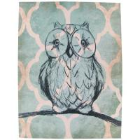 "Wholesale Teal Cream And Black Owl Handmade Canvas Paintings 12""x16"" With One Wooden Shelf from china suppliers"