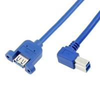 Wholesale Right Angled USB 3.0 B Male to A Female Panel Mount Cables with PVC Jacket from china suppliers