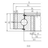 Single Row Four Point Contact Ball Slewing Ring Bearings Without Gear For Axial Load