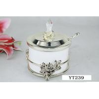 Wholesale Silver Coffee Tea Pot Accessories Sugar Bowl Zinc Material With Spoon from china suppliers