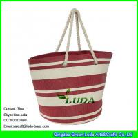 Wholesale LUDA red and white stripe beach totes paper straw made extra large beach bag from china suppliers