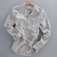 China Men's shirts casual linen shirt collar long-sleeved shirt short-sleeved shirt on sale