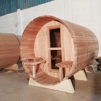 Wholesale 1800*2400MM 7 x 7 eletric wood burning barrel sauna with Knotless Red cedar from china suppliers