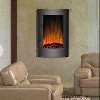"""Wholesale 23""""Black Curved Tempered Glass Standing Wall Mounted Electric Fireplace Heater Log Fuel LED flame EF493L room heater from china suppliers"""