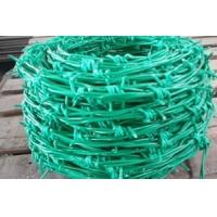 Wholesale Double Twist PE Coated Barbed Wire , Green Colour Gi Wire For Garden from china suppliers