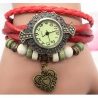 Wholesale Leather Wrap Double Heart Pendant Bracelet Watch for Ladies Watch from china suppliers