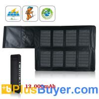Wholesale Portable High Capacity Solar Charger and Battery (12,000 mAh, 8 Laptop Adapters + 5 Digital Product Adapters) from china suppliers