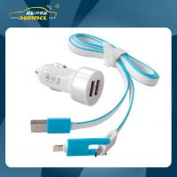 Quality 2.1A Dual USB Adapter Car Charger Kit with 2 in 1 Charging Cable for iPhone 5 , Samsung , Android for sale