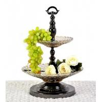 Wholesale double glass fruit bowl ,decorative tray for fruits from china suppliers