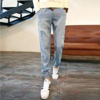 Wholesale Grey / Blue Womens Slim Straight Leg Jeans Regular Rise Customize Printing from china suppliers