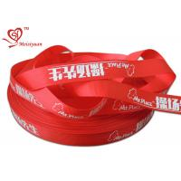Buy cheap 2.5cm red custom logo printed satin ribbon for packing decoration from wholesalers