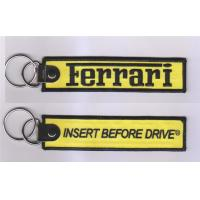 Wholesale Ferrari Insert Berore Drive Custom Logo Embroidery Fabric Keychain from china suppliers
