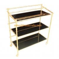 Wholesale Custome Design Gold Leaf Finish Modern Design Cheap Bamboo Iron Frame with Black Mirror Bar Cart on Wheels from china suppliers