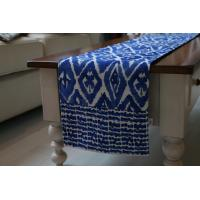 Wholesale Customized Navy Blue Table Runner With Burned Out & Printed Microfiber Fabric from china suppliers