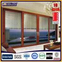 Quality aluminum door with blinds inside the glass for sale
