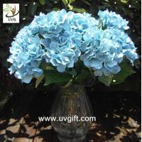 Wholesale UVG Blue 7 heads artificial cheap hydrangea fabric flowers wedding decoration centerpieces from china suppliers