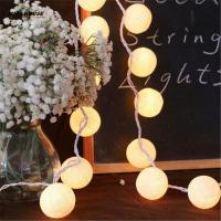 Wholesale Balls/pcs Vintage/sweet Pastel tone / pure white Cotton Ball String Fairy lights Party home Patio wedding Romantic Xmas from china suppliers