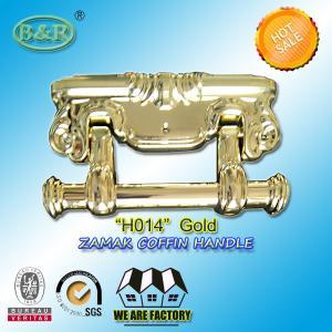 Quality Size 22.5*13cm Ref H014 Gold Color Metal Coffin Handles Zamak European Design for sale
