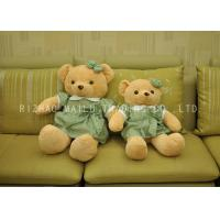 Wholesale Small Brown Animal Plush Toys Green And White Flowers Dress Stuffed Teddy Bear from china suppliers