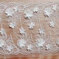 Beautiful White 3D Flower Lace Fabric , Double Edge Alencon Beaded Lace Fabric