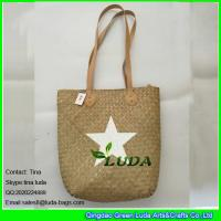 Wholesale LUDA natural handmade seagrass straw bags with white star painted from china suppliers
