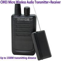 Wholesale CW03 Micro Wireless Audio Transmitter+Receiver Listening Bug 500M Remote Sound Monitor from china suppliers