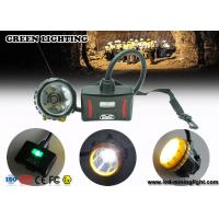 Wholesale 28000lux Superbright LED Two Charging Way IP68 Miners Cap Lamp with Warning Lights from china suppliers