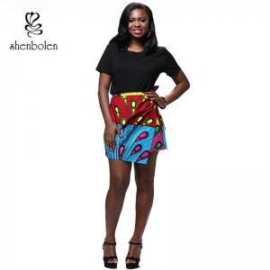 Quality Summer Lady African Print Maxi Skirt Irregular Design Belt Skirt Batik Cloth for sale