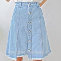 Wholesale Women A-LINE High Waist Long Denim Skirt With Bottom Buttons Closed from china suppliers