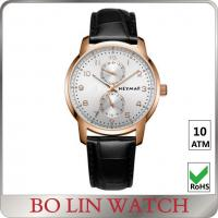 Quality Leather Band Mens Mechanical Automatic Watch With Stainless Steel Case for sale
