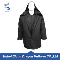 Wholesale Long Pattern Winter Black Security Guard Coats With Black True Fur Collar from china suppliers