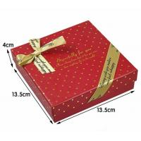 Wholesale Burgundy Art Special Jewelry Paper Boxes Beige Ribbon On Top And Corner from china suppliers